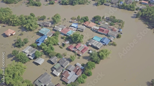 Fototapeta Aerial view of flood in Thailand.