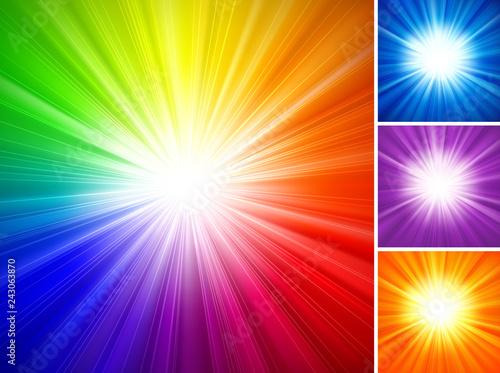 Fotografie, Obraz Multicolored Starburst Background