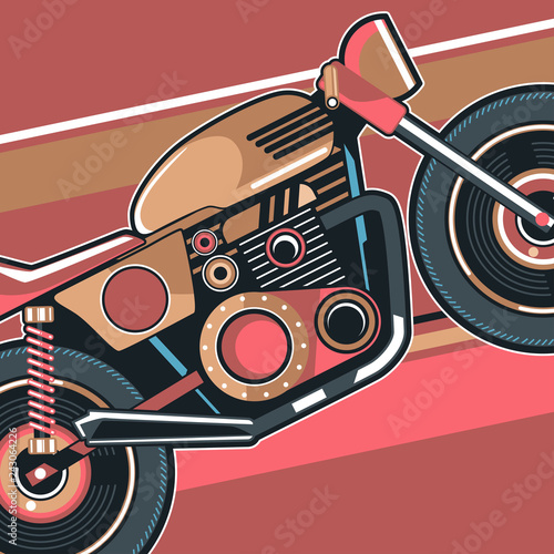 motorcycle cafe race illustration - Vector