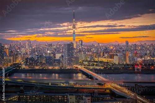 Spoed Foto op Canvas Stad gebouw Tokyo sky tree and tokyo city view in evening