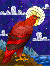Illustration In Stained Glass Style With Abstract Red Eagle On Landscape Background With Mountains, Sea And Starry Sky With Moon
