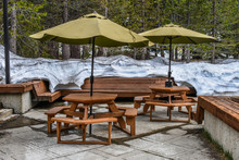 Outdoors Forest Cafe Deck With Snow On The Background In Sequoia National Park, USA - High Altitude