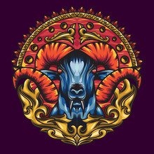 Mythology Goat Sacred Geometry With A Beautiful Blend Of Colours. Red Horned And Surrounded By Ornaments With The Impression Of The Colour Of Fire