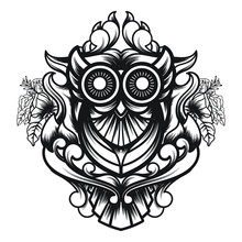 Line Art Of Owl Ornamental Sacred Geometry With A Blend Of Geometry Ornament