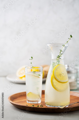 Detox drink of lemon, ginger and thyme  - Buy this stock photo and