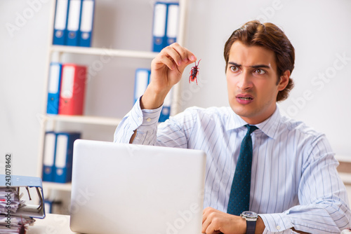 Businessman disgusted with cockroaches in the office