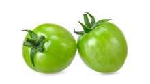 Green Tomato Isolated On White...
