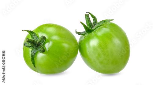 Fototapeta Green tomato isolated on white clipping path obraz