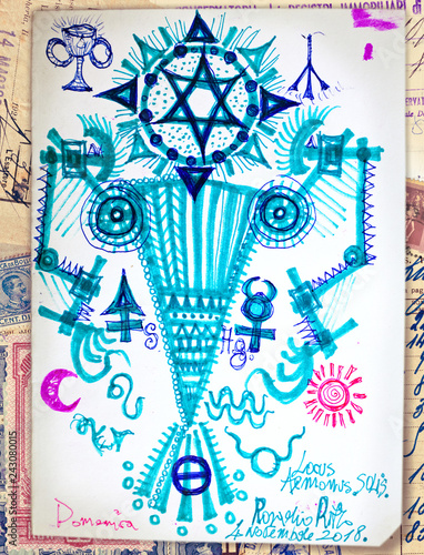 Deurstickers Imagination Drawing with ethnic and esoteric figures