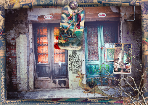 Papiers peints Imagination Surreal and macabre doors on a fantastic road