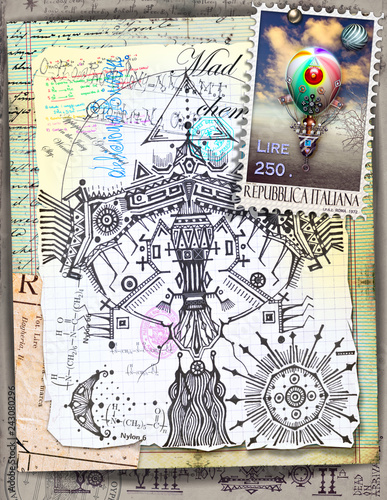 Deurstickers Imagination Ethnic eagle steampunk collage and scraps