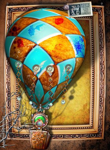 Fotobehang Imagination Mongolfiera bizzarra e steampunk su sfondo vintage con francobollo di posta aerea