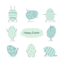 Set Of Easter Eggs In Kawaii Style . Easter Yoga. Stripes, Waves, Dots, Hearts, Stars. Perfect For Holiday Greetings. Vector Illustration.