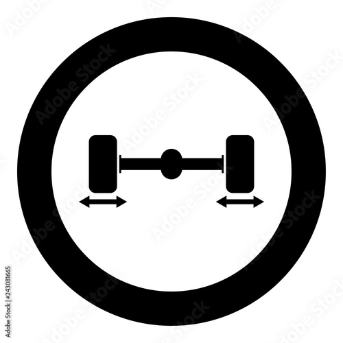 Fotografía  Fix car wheels Computer wheel balancer icon black color illustration in circle r