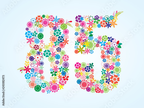 Fotografia  Vector Colorful Floral 85 Number Design isolated on white background