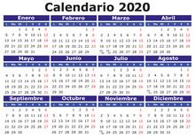 Spanish Calendar 2020 Horizontal