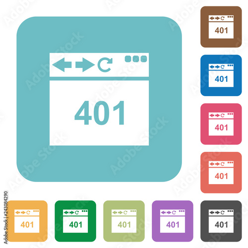 Fotografie, Obraz  Browser 401 Unauthorized rounded square flat icons