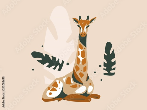 Photo  Hand drawn vector abstract cartoon modern graphic African Safari Nature concept
