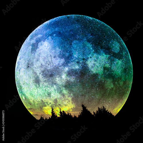The full moon rises over the spruce forest, composite image, elements of the image furnished by NASA.