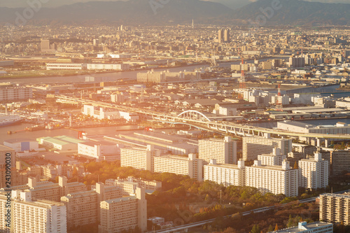 Keuken foto achterwand Stad gebouw Osaka city skyline aerial view cityscape downtown background, Japan