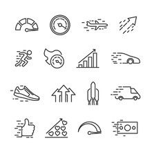 Vector Illustration Set Of Speed Line Icons.