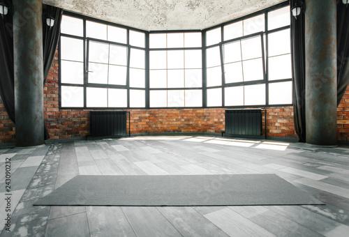 Poster Fitness Loft yoga studio, copy space
