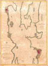 Old Map Lake Champlain, Burlin...