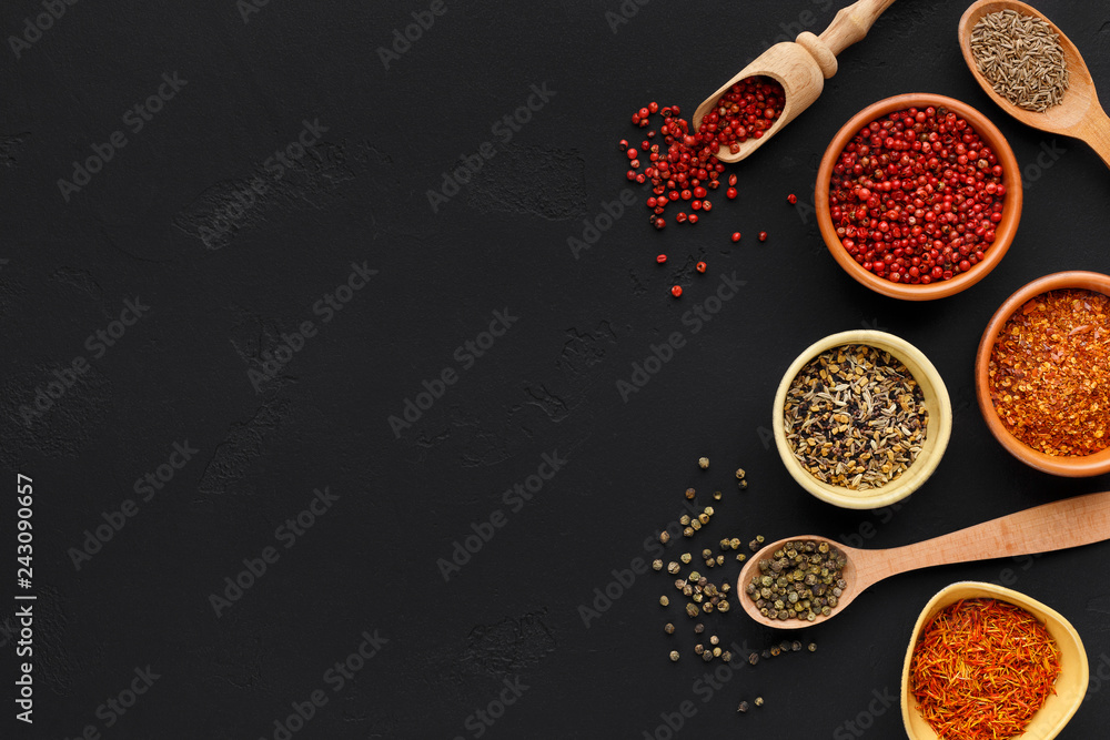 Fototapety, obrazy: Table with different spices and peppercorns, top view