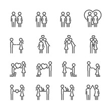 Vector Set Of Loving Couple Line Icons.