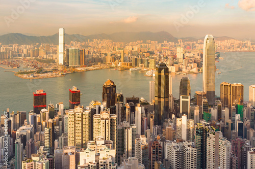 Keuken foto achterwand Stad gebouw Aerial view Hong Kong over Victoria Peak, cityscape background