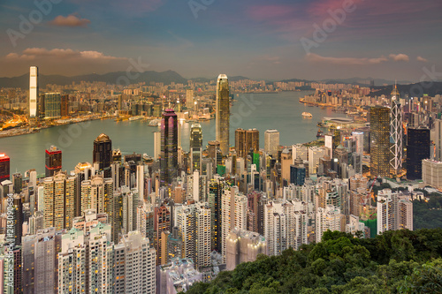 Keuken foto achterwand Stad gebouw Hong Kong central business downtown aerial view