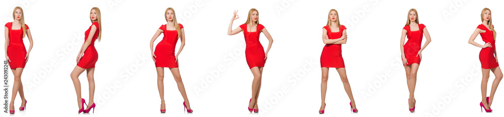 Fototapeta Beautiful woman in red dress isolated on white