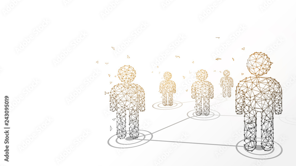Fototapety, obrazy: Connecting people form lines, triangles and particle style design. Illustration vector