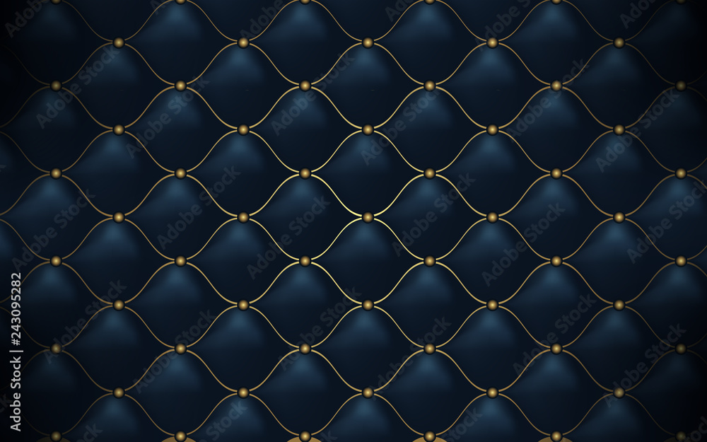 Fototapeta Leather texture. Abstract polygonal pattern luxury dark blue with gold