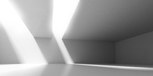 3D Stimulate Of Concrete Interior Space With Sun Light Cast The Shadow On The Wall And Floor,Perspective Of Minimal Design Architecture,3d Rendering