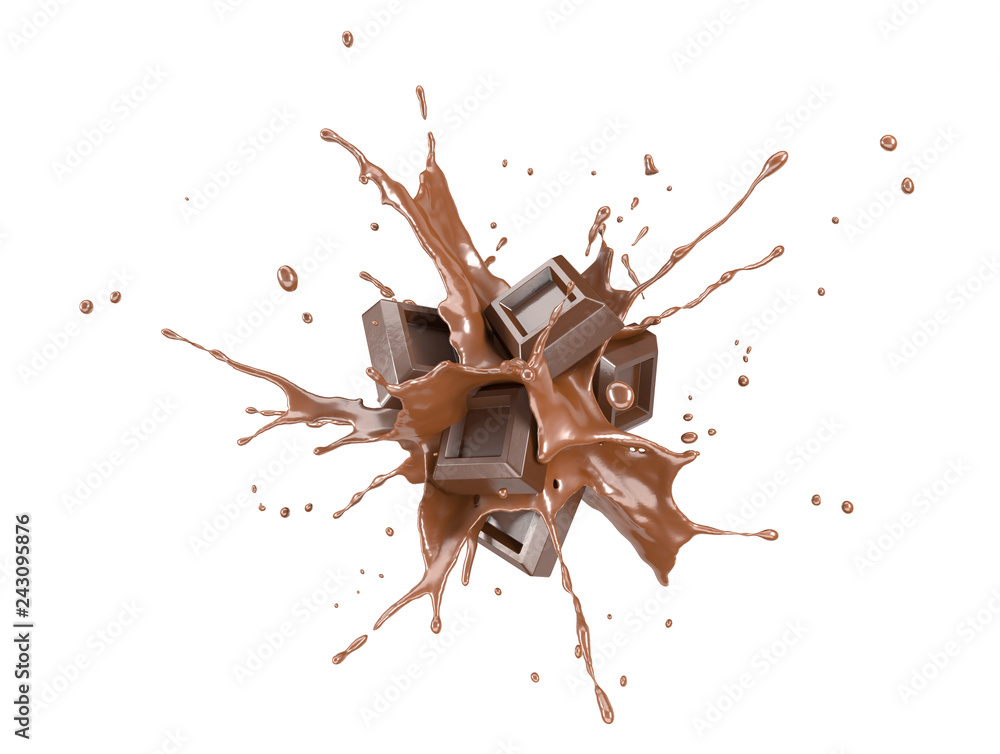 Fototapety, obrazy: Chocolate blocks splashing into a liquid chocolate splash burst.