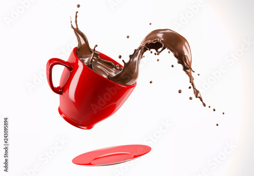 Red porcelain Mug cup with liquid chocolate wave splash.