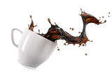 Liquid coffee wave splashing out from a white cup mug.