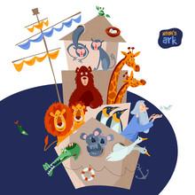 Bible Story. Noah's Ark With Various Animal Pairs (monkey, Bear, Giraffe, Lion, Penguin, Crocodile, Koala, Goose, Pigeon, Crab).