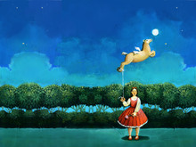 Woman With Flying Horse Surreal Illustration Editorial Picture