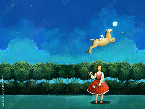 Fotografía  woman with flying horse surreal illustration editorial picture