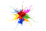 Red, blue, pink, yellow, light blue, orange and green paint splash explosion.