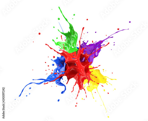 Acrylic Prints Form Red, blue, violet, yellow and green paint splash explosion.