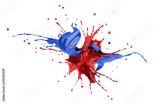 Red and blue paint splash explosion, splashing against each other.