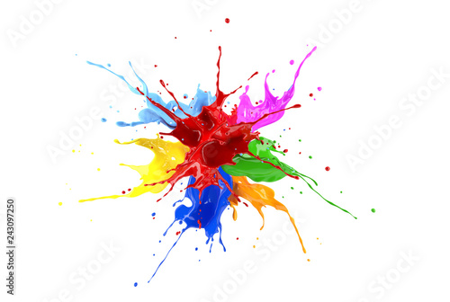 Red, blue, pink, yellow, light blue, orange and green paint splash explosion. - fototapety na wymiar