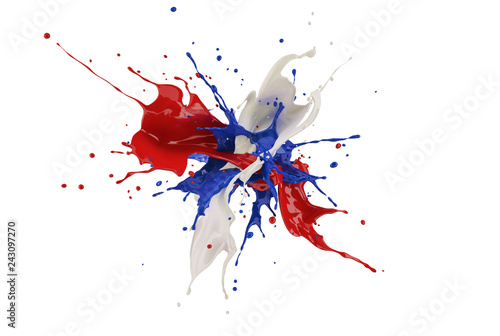 Red, white and blue paint splash explosion, against one another.