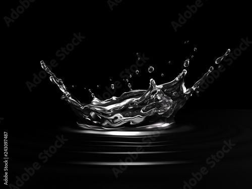 Water crown splash. On black background. Side view.