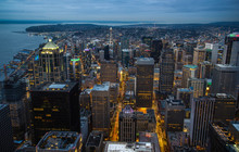 The Downtown Skyline At Night, In Seattle