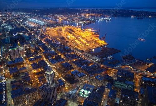 Seattle, Elliott Bay and the Port from above West Seattle Wallpaper Mural