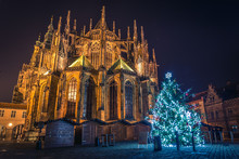 Beautiful Chritstmas View Of The St. Vitus Cathedral. Prague Castle Area.